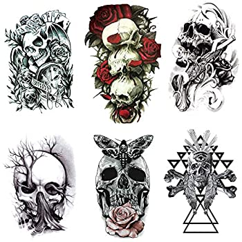 Yesallwas Skull Temporary Tattoo for Men,Teens Guys boys 6 Sheets Waterproof long lasting Fake Tattoos Stickers for Arms Shoulders Chest & Back- crown,Gun,Tree,Tribal Feather,Clock  A