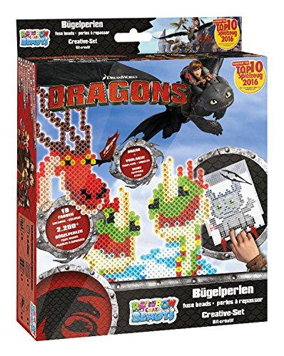 Craze 54445 - Rainbow Beadys Bügelperlen Kreativ Set Dreamworks Dragons, 2200 Perlen inklusiv Zubehör, schwarz