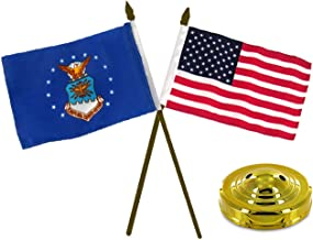 ALBATROS Air Force Emblem with USA American Gold Staff Flags 4 inch x 6 inch Desk Set Table with Gold Base for Home and Parades, Official Party, All Weather Indoors Outdoors