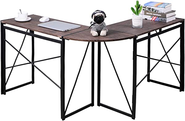 No Assembly Folding L Shaped Computer Desk Home Office Workstation Writing Study Corner Desk Laptop Table 47 X 15 X 29 5 Inches Brown VC1905
