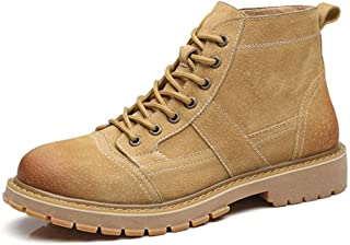 Sunny&Baby Ankle Desert Boots for Men Work Boot Lace up Genuine Leather Low Heel Wear Resisting Round Toe Anti-Skid Burnished Style Patchwork Durable (Color : Yellow, Size : 6.5 UK)