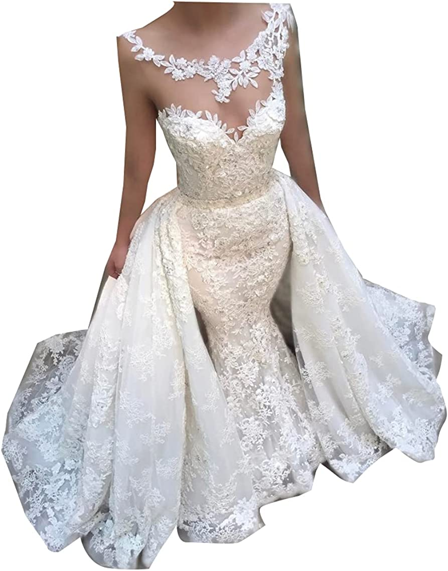 Women's Long Princess Lace Wedding Dresses with Detachable Skirt Train Plus Bridal Ball Gown for Bride White Ivory