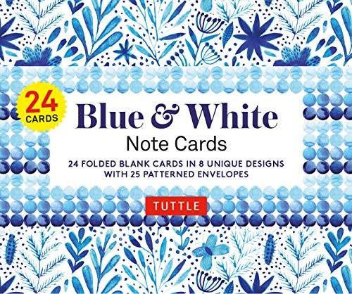 [画像:Blue & White - 24 Note Cards: 24 Blank Cards in 8 Unique Designs With 25 Patterned Envelopes]