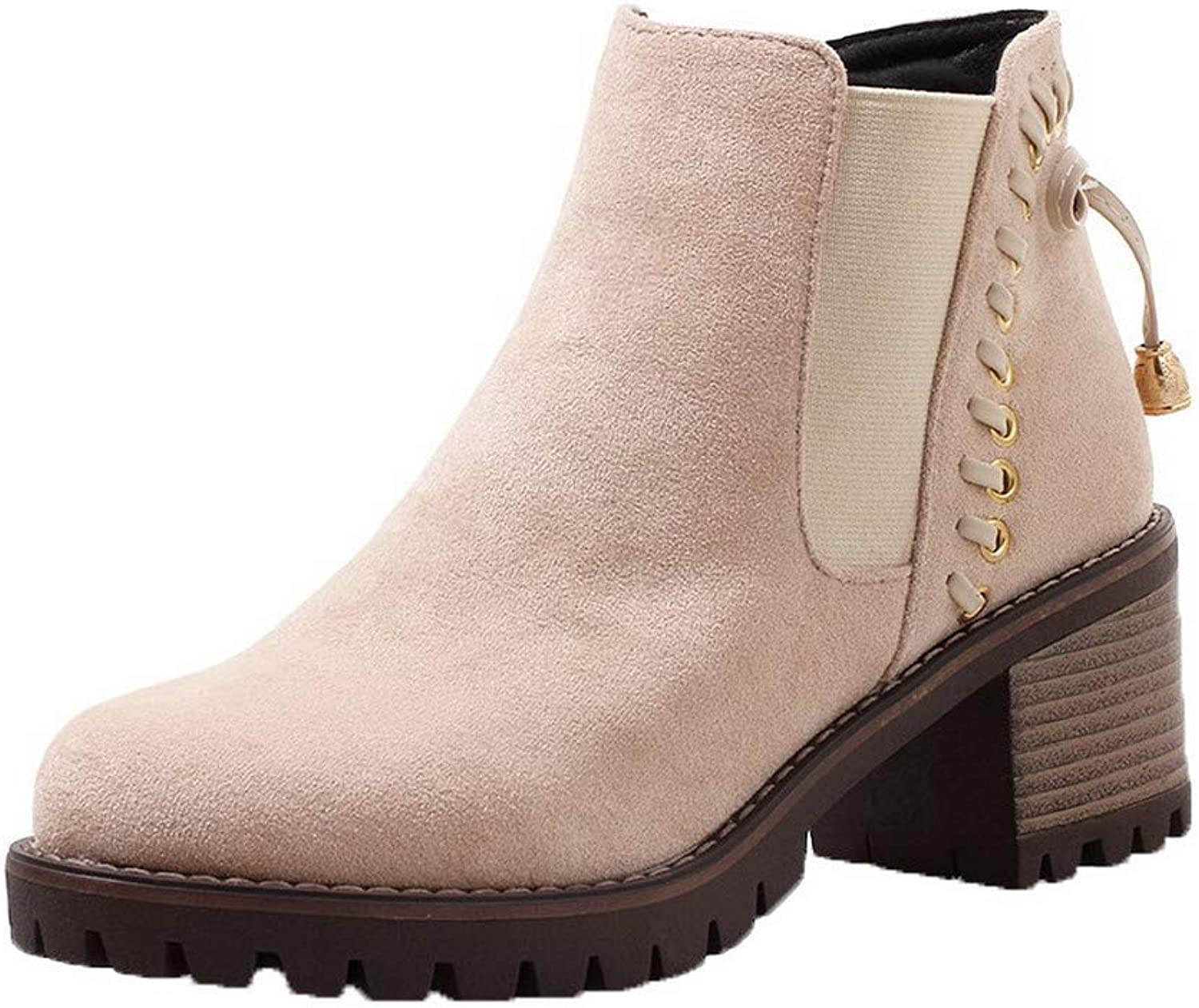 WeiPoot Women's Closed-Toe Low-Top Kitten-Heels Solid Frosted Boots, EGHXH111374