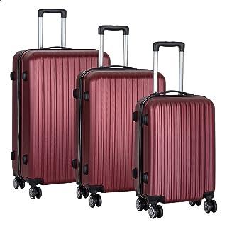 JB Luggage Trolley Travel Bags Set, 3 Pieces - Maroon