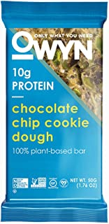OWYN Only What You Need 100% Plant-Based Bars, Chocolate Chip Cookie Dough, Gluten-Free, Dairy-Free, Soy-Free, Allergy Friendly, Vegan 12 Pack