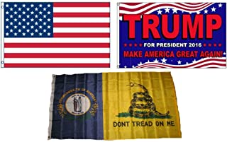 ALBATROS 3 ft x 5 ft Trump 2016 with American with State of Kentucky Gadsden Set Flag for Home and Parades, Official Party, All Weather Indoors Outdoors