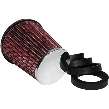 3 Adapter ROT CHROM Neu Sportluftfilter Universal Sport Luft Filter inkl