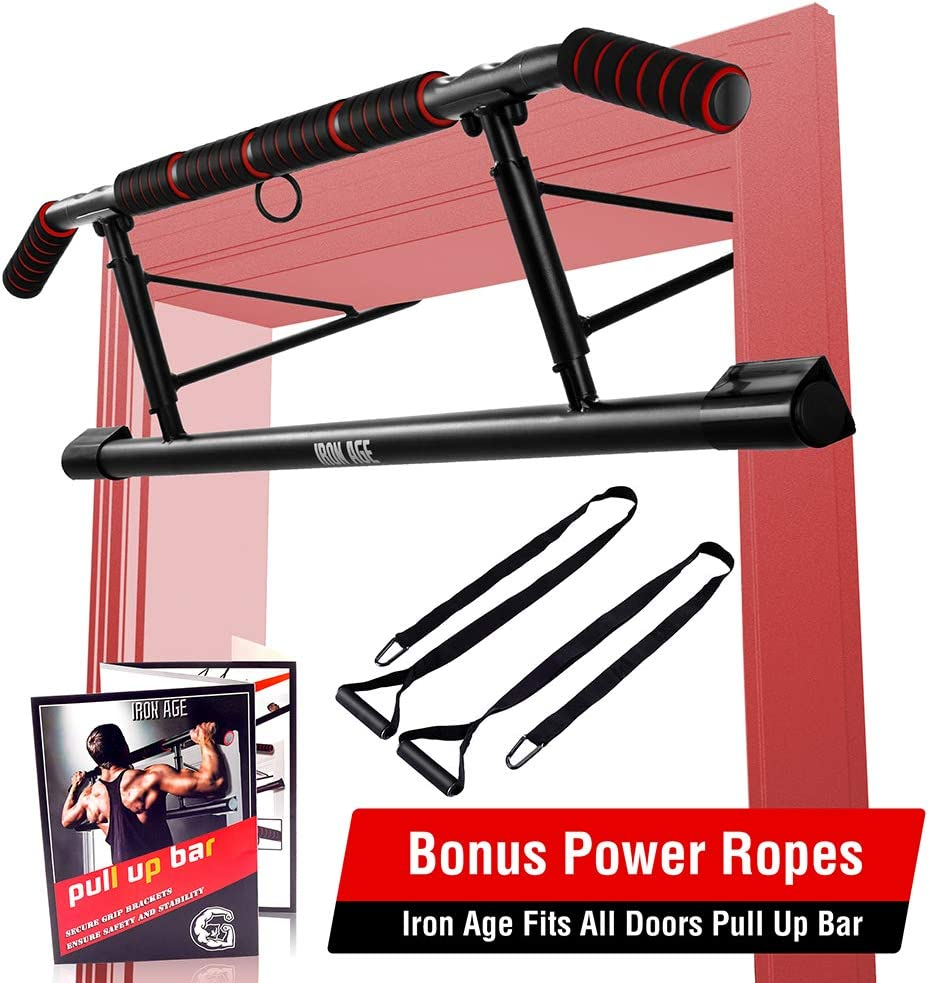 IRON AGE Pull Up Bar for Doorway - Angled Grip Home Gym Exercise Equipment - Pullupbar with Shortened Upper Bar and Bonus Suspension Straps(Fits Almost All Doors) : Sports & Outdoors