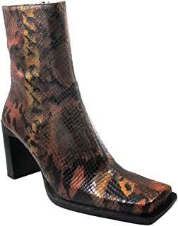 DA'VINCI 17232 Women's Italian Ankle Boot Leather Dress/Casual Squre Toe and Low Square Heel Boot, Multy Color Size 36.5