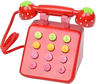Children Kids Learning Resources Teaching Wooden Toy Telephones Pretend Play Chatter Phones Kakiyi