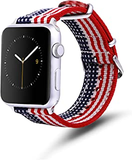 TinaWood American Flag Wristband Watch Strap Comfortable Denim Fabric Replacement Band Compatible for Apple Watch iWatch Series 4/3/2/1 (Ameriacan Flag, 38MM/40MM)
