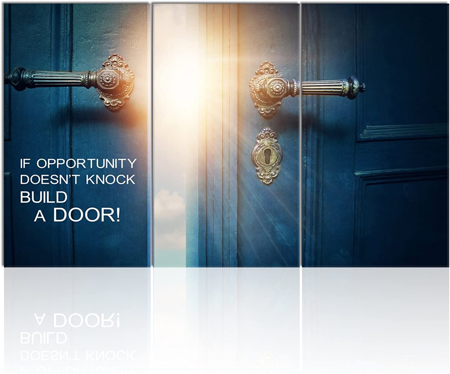 Visual Art Decor Success Inspiration Quote Canvas Wall Art If Opportunity Doesn't Knock Build a Door Motivation Motto Framed Giclee Prints Home Office Decoration (W-60 xH-36)