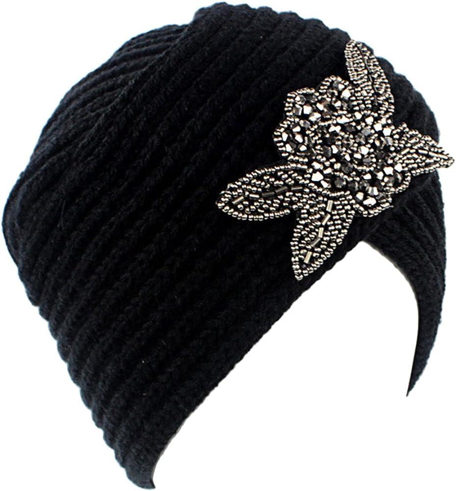 Ealafee Women 2017 Rhinestones Crochet Warm Beanie Hat Beret Fedora Cloche Caps
