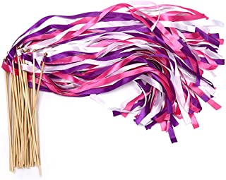 40 PCS Ribbon Wands - Mix Rose-Purplr-White Ribbon Fairy Wands with Bell and Smooth Wood Sticks, Chromatic Silk Waving Party Streamers for Wedding Best Wishes, Kids Birthday Props, Dance Party Favors