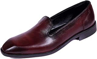 Kanprom Men's Maroon Red Genuine Leather Casual Slip On Shoes