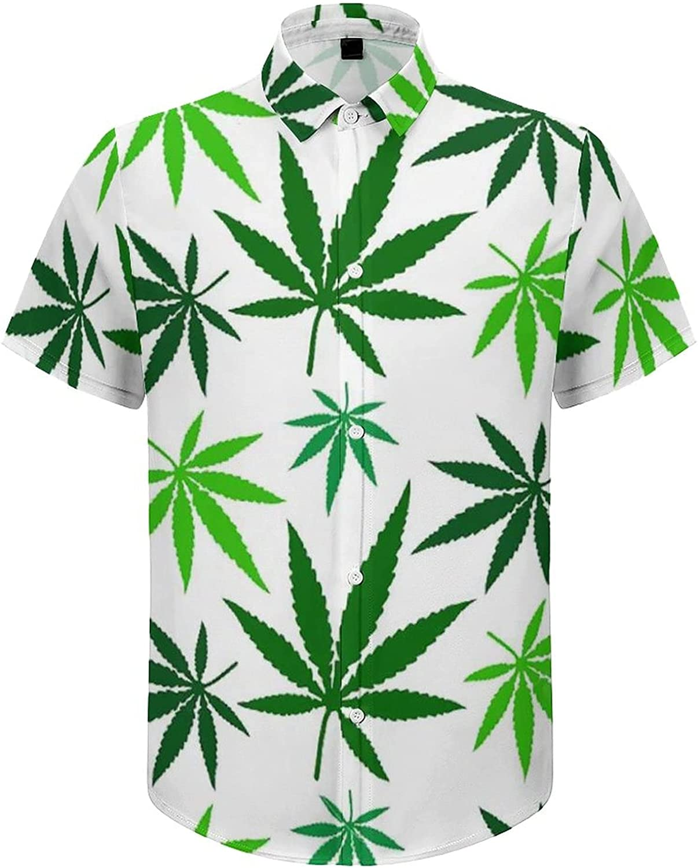 Men's Short Sleeve Button Down Shirt Weed Leaves Green Summer Shirts
