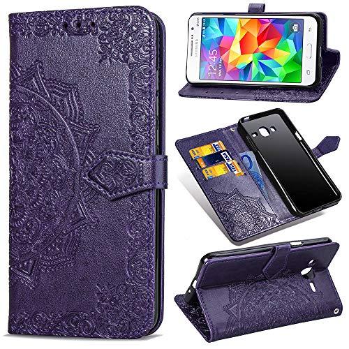 YKTO Funda para Samsung Galaxy Grand Prime 2014 G530F Artificial Suave Cuero Cierre Magnético Cover Soporte Plegable Flip Billetera Protector Carcasa Mandala en Relieve Diseño Color sólido Púrpura