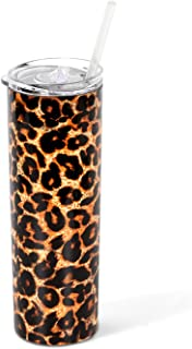 Stainless Steel Tumbler with Straw and Lid, Vacuum Insulated Double Wall Cup for Coffee, Tea, Beverages(Leopard, 20 oz)