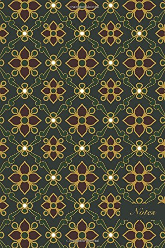 """Notes: 6""""x9"""" Unruled Blank Notebook Classic Green Curve Cross Golden Frame Line Botanic Garden Flower Seamless Pattern Cover. Matte Softcover Note Book Journal"""