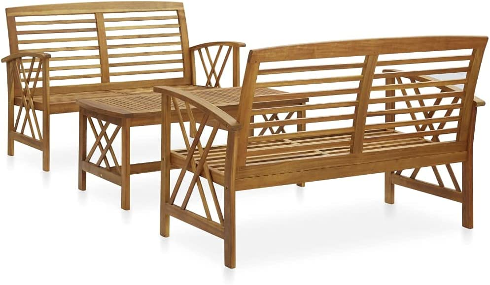 yeacher 3 Piece Max 63% OFF Garden Lounge 2021 autumn and winter new Solid Set Acacia Wood