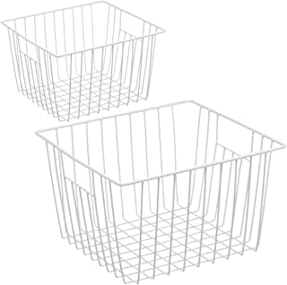 Homics Freezer Wire Baskets, Metal Wire Storage Baskets for Chest Freezer Upright Refrigerator, Organizer Bins with Handles for Household, Kitchen, Cabinets, Closets, Pantry and Bedroom - 2 Pack