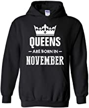 Birthday Gift Queens are Born in November Unisex Hoodie (SB) Black