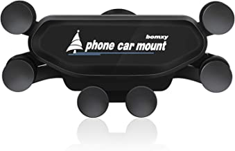 Upgraded bomxy Cell Phone Car Cradles Air Vent Car Mounts Holder Auto-Retractable Automatic Locking with Pneumatic Shock Protector for 4.7 to 6.8 inches Smartphones(Black)