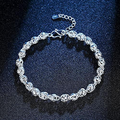 YSJJPQC Bracelets Hollow Out Ball 925 Sterling Silver Ladies Bracelets Wholesale Women Charm Bracelet no Fade (Length : 18.5cm)
