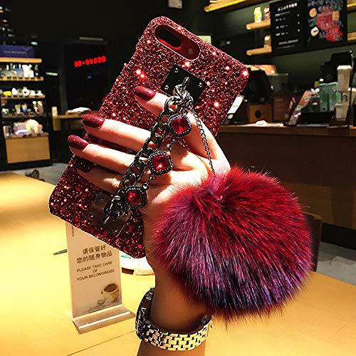 for iPhone 7 Plus Case,for iPhone 8 Plus Case,BabeMall Luxury Stylish DIY Handmade Bling Diamond Fur Plush Ball Strap Chain Case (Red Ball)
