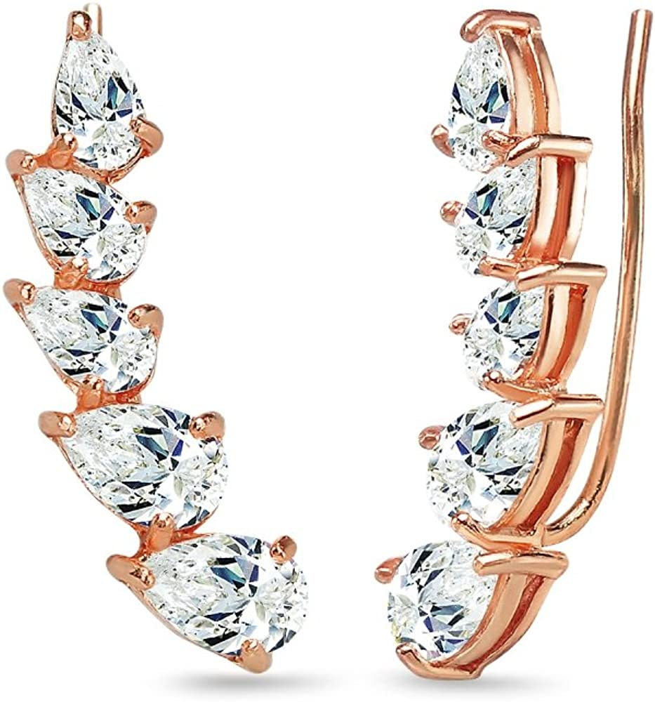 Rose Gold Flashed Sterling Silver Teardrop Many popular brands Climber Earri Charlotte Mall Crawler