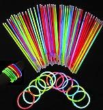 Dcolor 100 pz bastone luminoso fluorescente in colore misto e 100 pz braccialetto connetto...