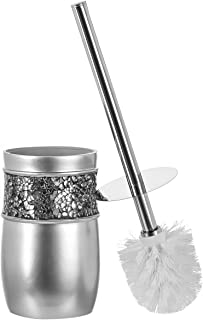 Creative Scents Bathroom Toilet Brush Set - Brushed Nickel Collection Good Grip Toilet Bowl Cleaner Brush and Holder Decor...