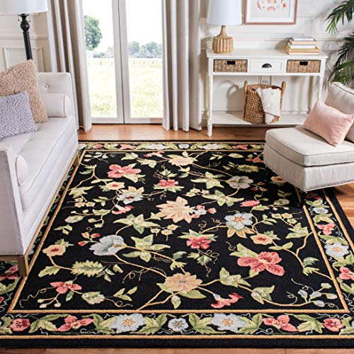 Safavieh Chelsea Collection HK311A Hand-Hooked Black Premium Wool Area Rug (8'9' x 11'9')
