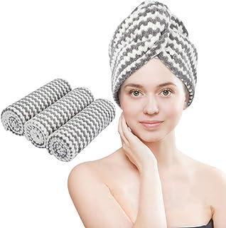 VIVOTE - Toallas de microfibra para el cabello (3 unidades, secado rápido, con capucha, superabsorbente, suave, ligero, antiencrespamiento, 10 x 25,5 pulgadas, Gris