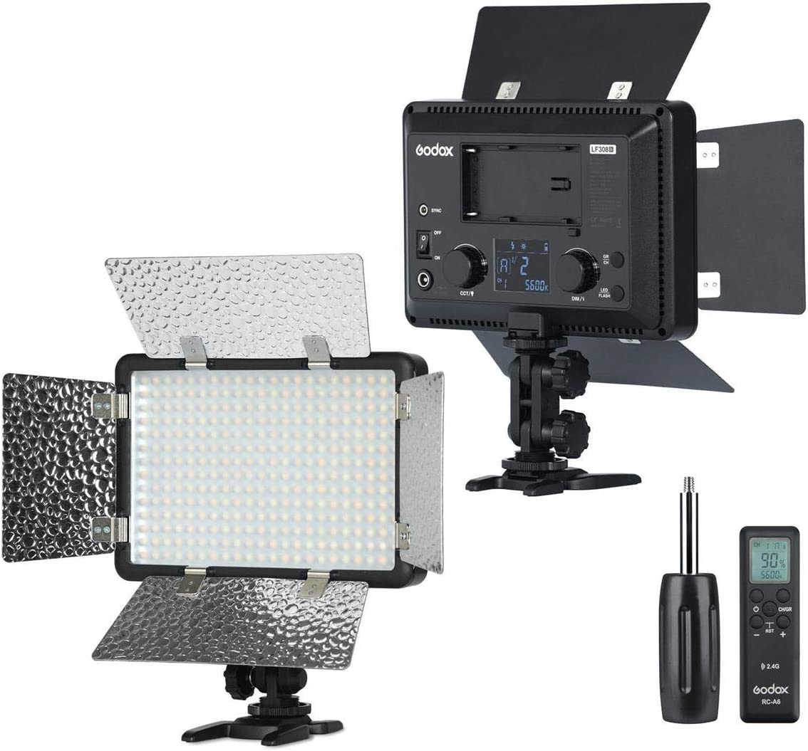 Godox LF308Bi Bi-Color Temperature LED Flash Light Photography Fill-in Lamp Video Light 3300K-5600K 18W Smartphone APP/ 2.4G Wireless Control with Remote Controller Power Adapter