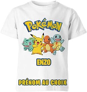 Tshirt Pokemon Prénom Au Choix Personnalisé Enfant Garçon & Fille