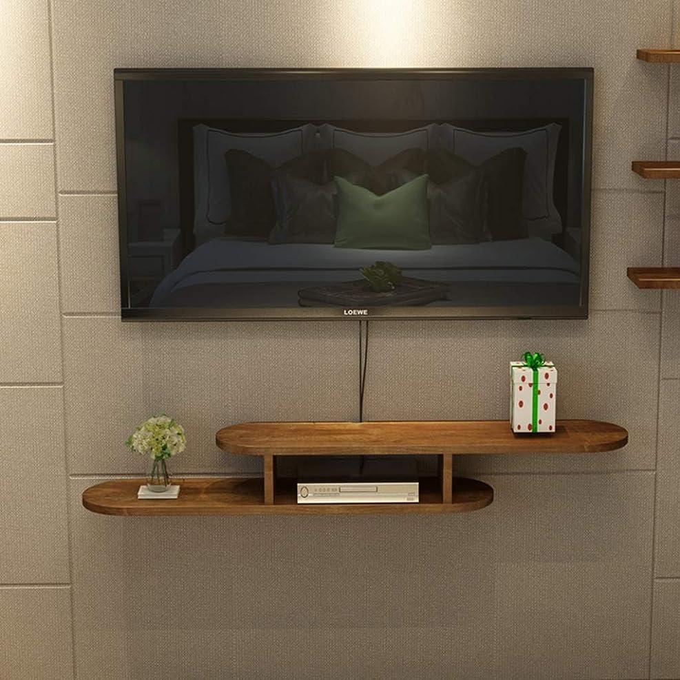 薬理学動脈雹オーディオ/ビデオコンソール木製TVスタンドメディアコンソールケーブルボックスルーターリモートコンソールフローティングシェルフ(色:茶色、サイズ:120 CM)