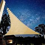 ACCZ Sonnensegel Mit Solarenergie LED Nachtlichtern Beleuchtung, Hergestellt Aus Hochwertigem HDPE-Material, 180G / M2, Atmungsaktiv Dreieck Beige, Geeignet Für Garten/Terrasse/Grill,3x3x3M