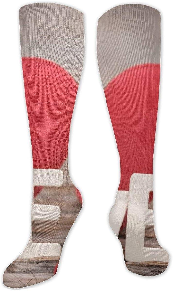 Love Word Lettering Heart Knee High Socks Leg Warmer Dresses Long Boot Stockings For Womens Cosplay Daily Wear