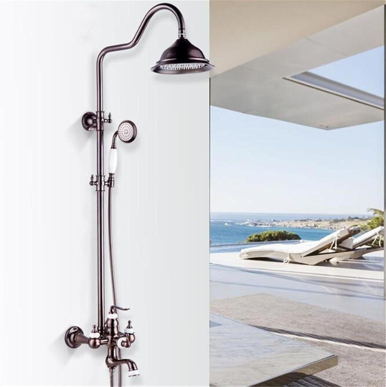 FFJTS 48464-E Braune Kupfer Jade Wasserhahn Badezimmer Dusche Set WC Bad