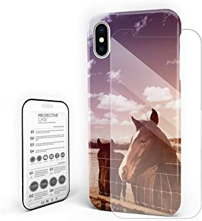 YEHO Art Gallery Christmas Phone Case Protective Design Hard Back Case,The Landscrape with Horse Head Aniaml Pattern,Phone Covers with Screen Protector for Girls Boys,iPhone 6p/6sp