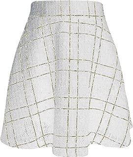 Tanming Women's Elastic Waist A-Line Pleated Mini Plaid Wool Skirt