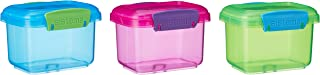 Sistema 41544 Lunch Food Storage Container with Contrasting Clips, Green/Pink/ Blue, 400 ml, Pack of 3