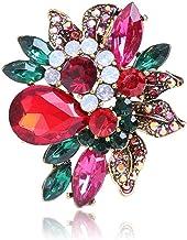DealMux Elegante broche voor dames, broche met kristallen, fijne strasbroche voor vrouwen, meisjes, dames (kleur: rood, ma...