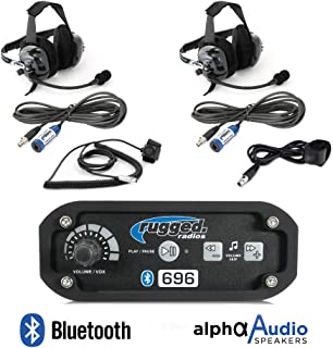 Rugged Radios RRP696 Black Out Series Intercom 2 Place Kit with Behind The Head Headsets, Push to Talk Cables and Intercom Cables
