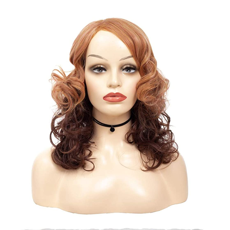 Isikawan 女性の茶色のツートンカラーのグラデーションカラーのための短い巻き毛の中間部分の自然でふわふわのかつら (色 : ブラウン, サイズ : 50cm)