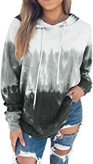 Women Hoodies Tops Tie Dye Printed Long Sleeve Drawstring Pullover Sweatshirts with Pocket(S-XXL)
