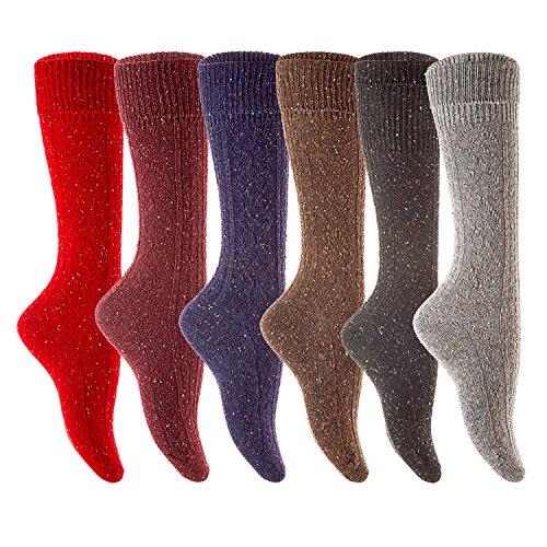 Lian LifeStyle Women's Petite Plus Size High Crew Wool Socks, Random Color Pack, Medium