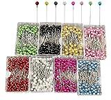 Keleily Alfileres Cabeza Redonda 800Pcs Alfileres de Costura Coloridos Alfileres Decorativos para la Fabricación de Joyas, Pulsera de Aretes, Decoración de Flores, 8 Colores, 4CM
